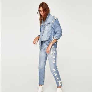 Zara Distressed Lace Up Denim Jacket